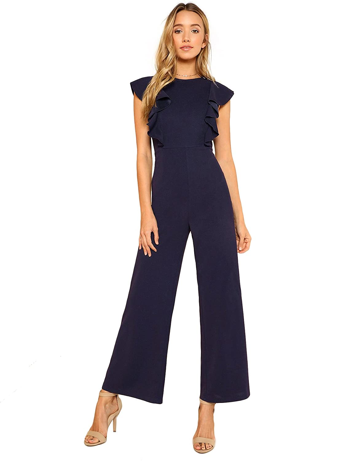 Image result for Romwe Women's Sexy Casual Sleeveless Ruffle Trim Wide Leg High Waist Long Jumpsuit