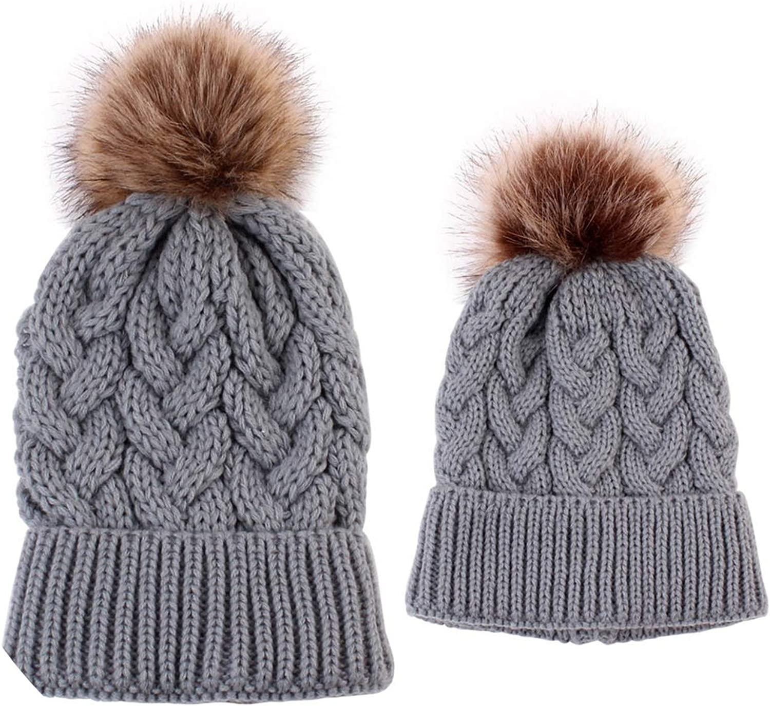Hat Women 2Pcs Mom Baby Fur...