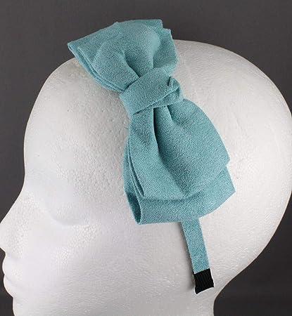 Amazon.com   Turquoise Headband Faux Suede Fabric Big Side Bow Hair Band Grip  Teeth Aqua Girls Headbands For Women   Beauty 658b867e08c