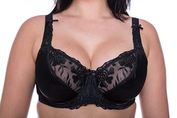 d9c7abea0a0 Bra Black Plus Size Full Cup Large Bosom Satin Lace Underwired Black Bra  (34D)