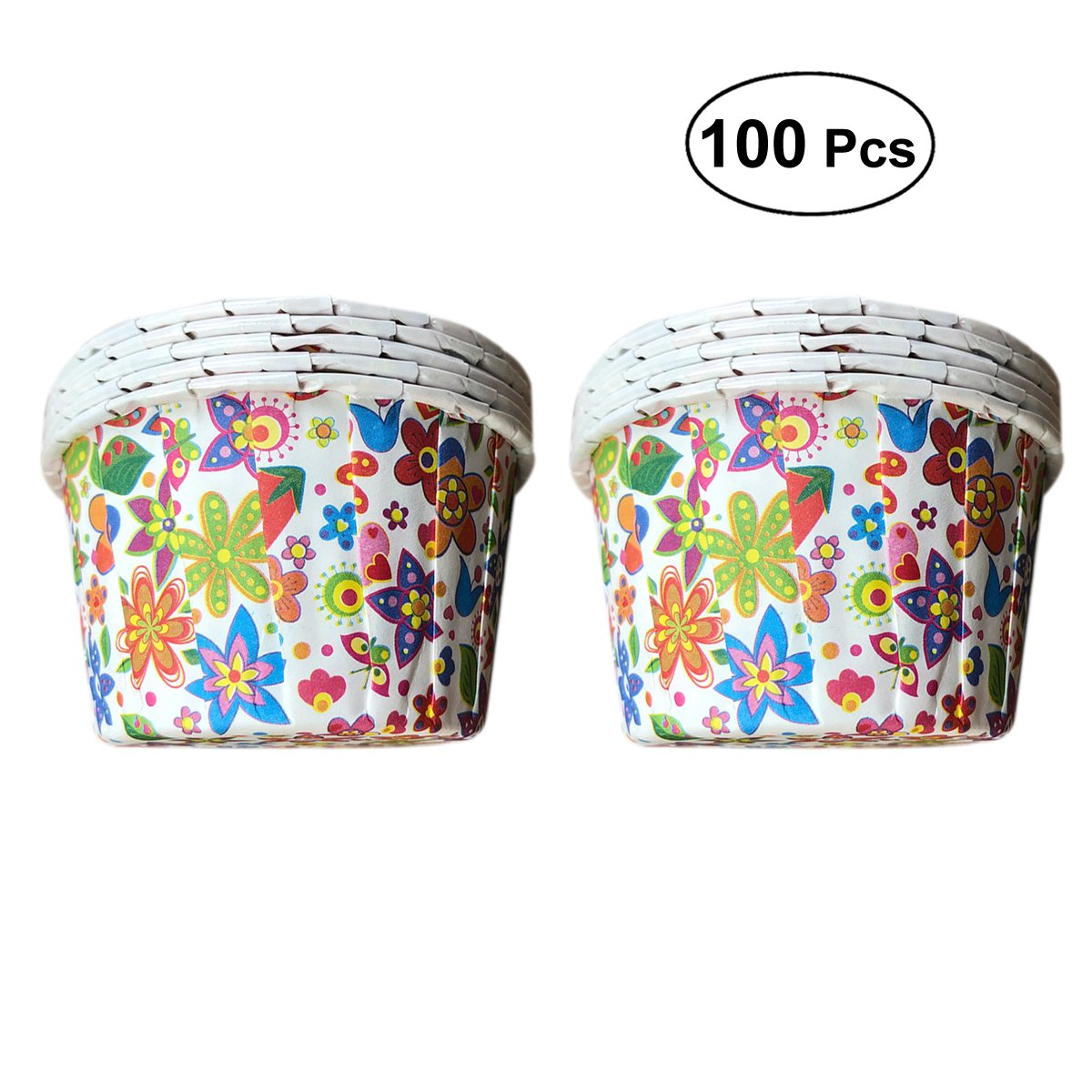 BESTONZON 100pcs Flower Pattern Cupcake Paper Baking Cups Muffin Wrapper Liners Cake Cases Mould
