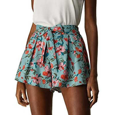 Allegra K Women's Floral Print Elastic Tie High Waist Culottes Beach Summer Shorts | .com
