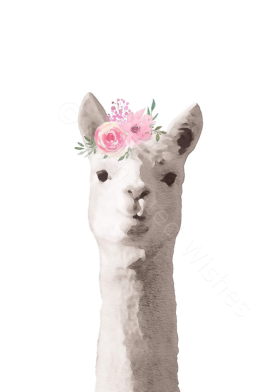 Grey Pink Floral Llama Print Nursery Wall Art Unframed Animal Picture