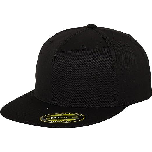 b48633868e9 Yupoong Flexfit Unisex Premium 210 Fitted Flat Peak Snapback Cap (SM)  (Black)