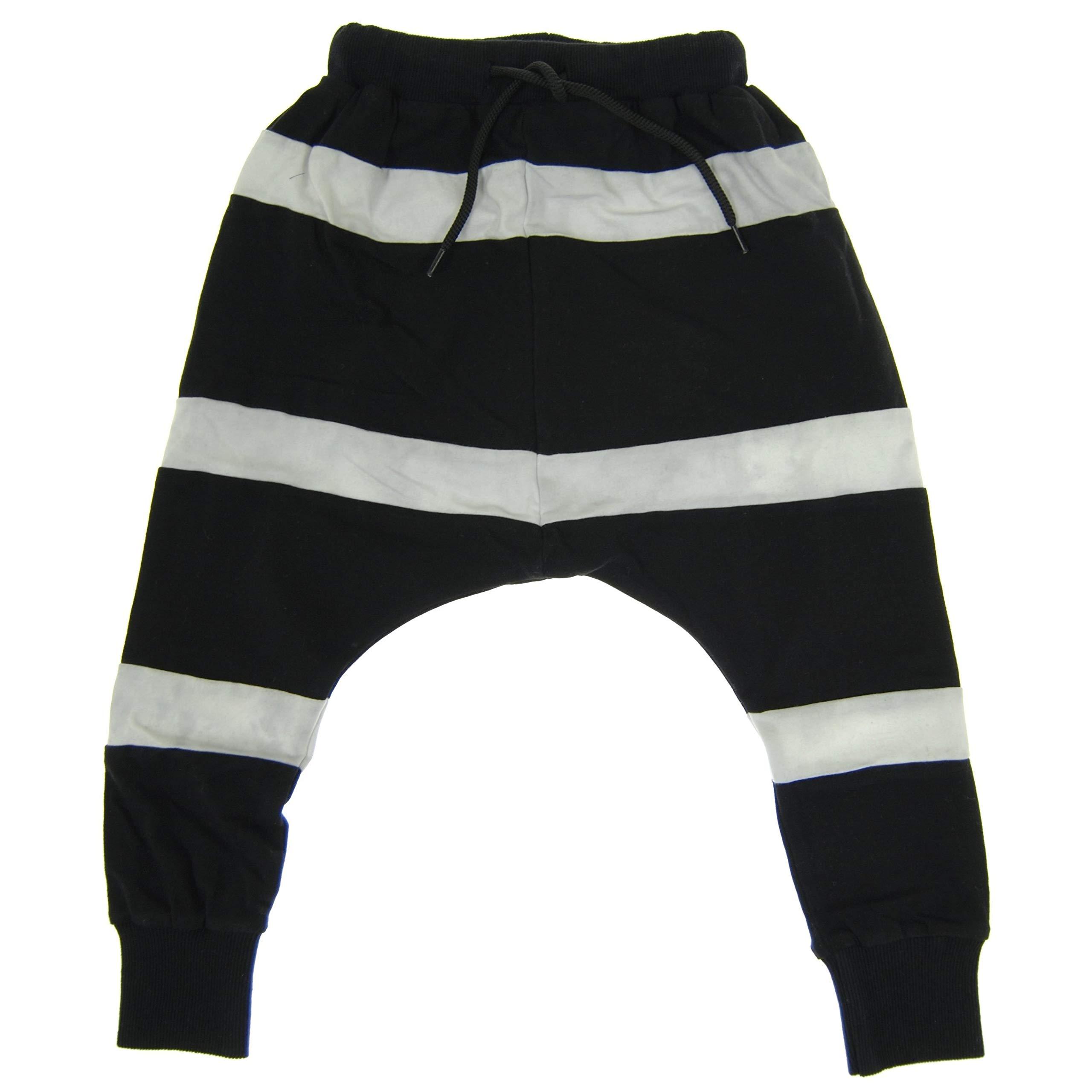 Mini Shatsu Black and White Striped Sweat Pants