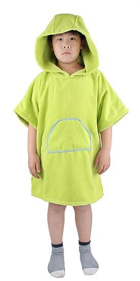 Winthome Poncho Toalla con Capucha para Cambiarse,Niños Poncho de Baño (clásico-Verde