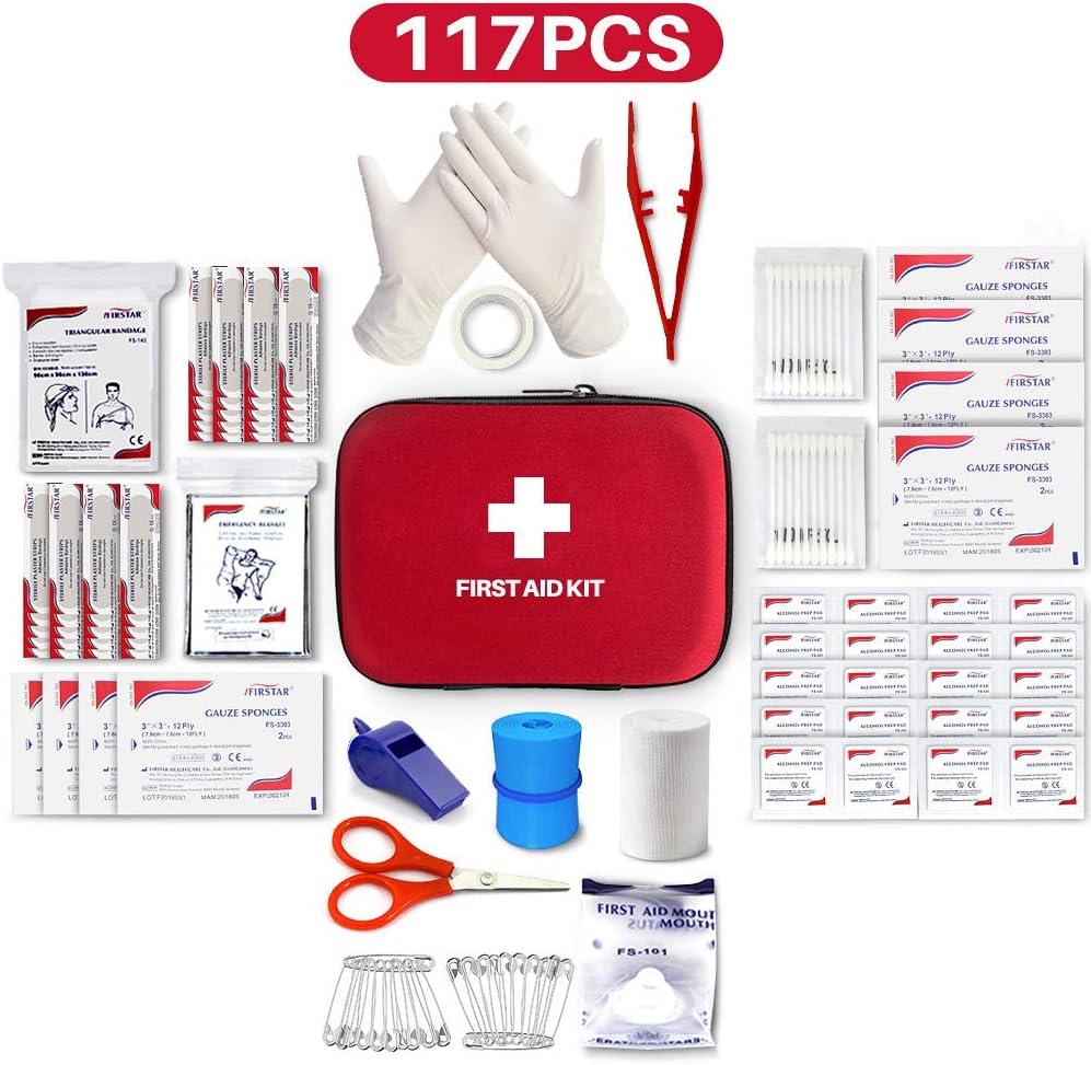 El Mejor Kit de Primeros Auxilios,117 Piezas Estuche rígido El Kit de Primeros Auxilios Incluye una Manta de Emergencia,Viajes,Lugar de Trabajo,Senderismo,Supervivencia y Actividades al Aire Libre