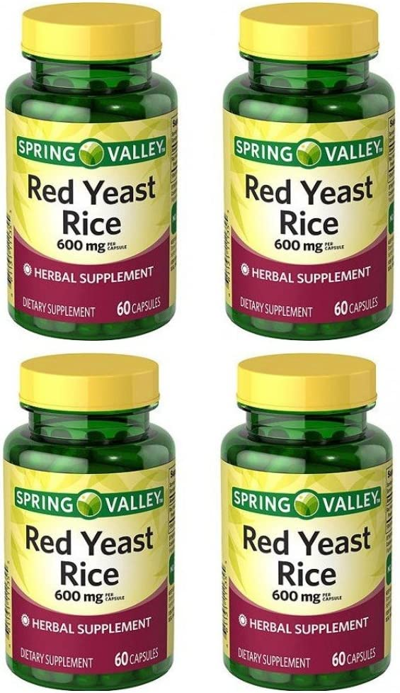 Spring Valley Red Yeast Rice Herbal Supplement, 600 mg Per Capsule X 2 Capsules=1200 mg Per Serving, 4 Bottles of 60 Capsules (4 Pack): Health & Personal Care