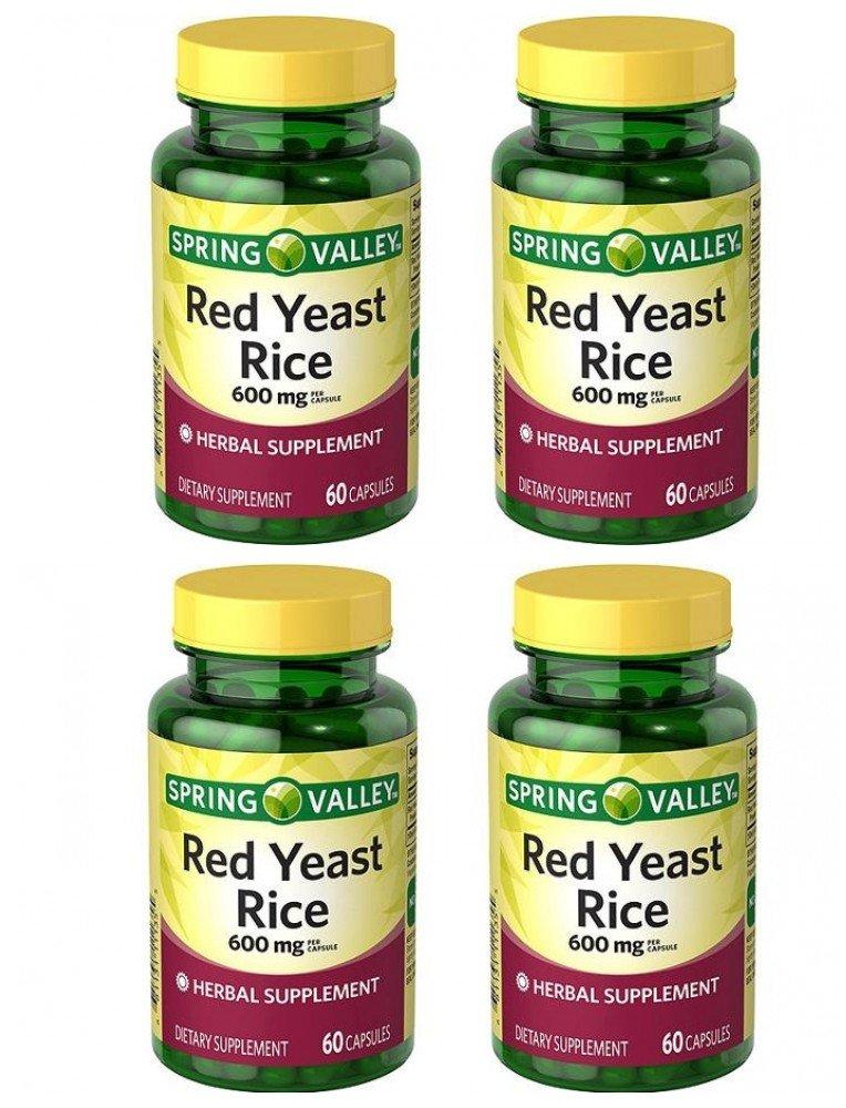 Spring Valley Red Yeast Rice Herbal Supplement, 600 mg Per Capsule X 2 Capsules=1200 mg Per Serving, 4 Bottles of 60 Capsules (4 Pack)