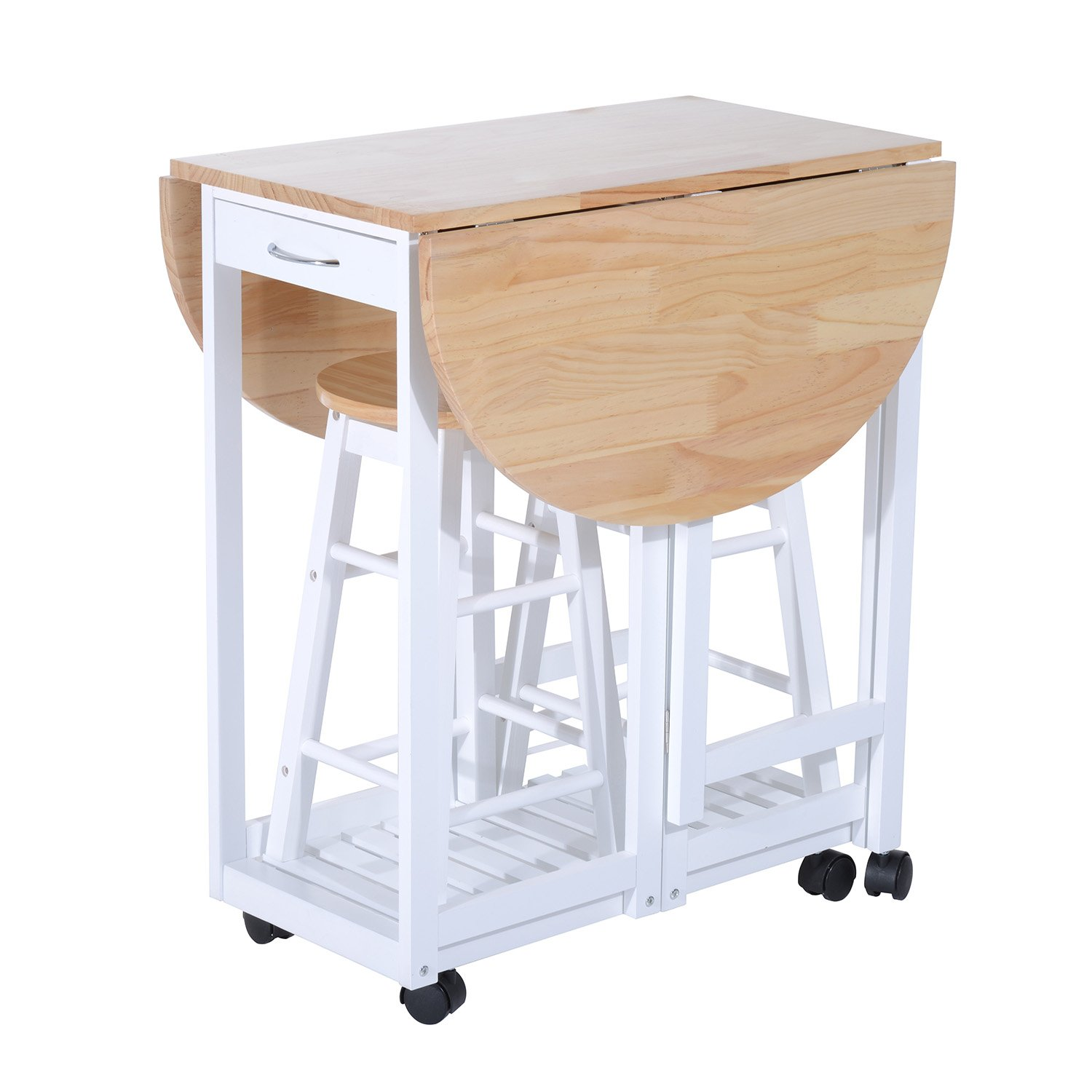 Compact 3pc Wooden Kitchen Cart Mobile Rolling Trolley Folding Bar Table Ebay