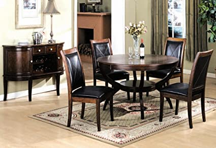 Amazoncom Roundhill Furniture Piece Solid Wood Round Top Dining - Solid wood round dining table for 4