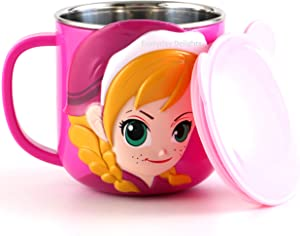 Disney Frozen Anna Pink Stainless Steel Insulated 3D Cup with Lid, 250ml
