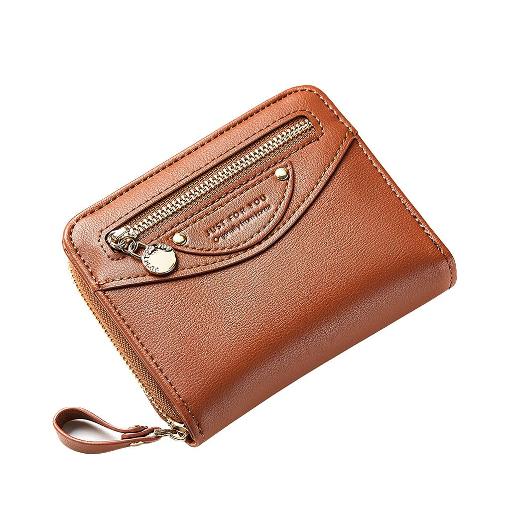 Women Compact Bifold Leather Pocket Wallet Ladies Mini Purse Coin Pouch Small Zipper Pocket Card Holder Flap Brown