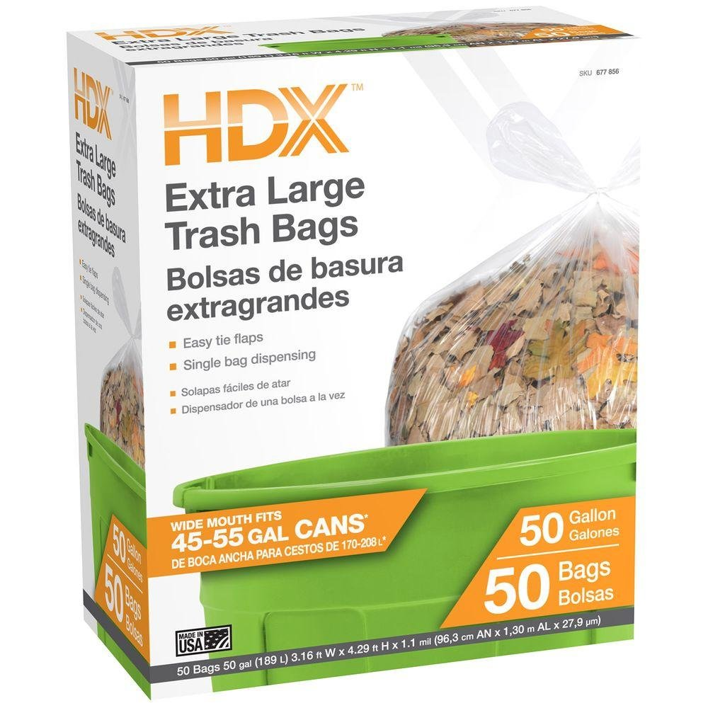 Amazon.com: HDX 50 gal. Clear Wave Cut Trash Bags (50-Count): Home & Kitchen
