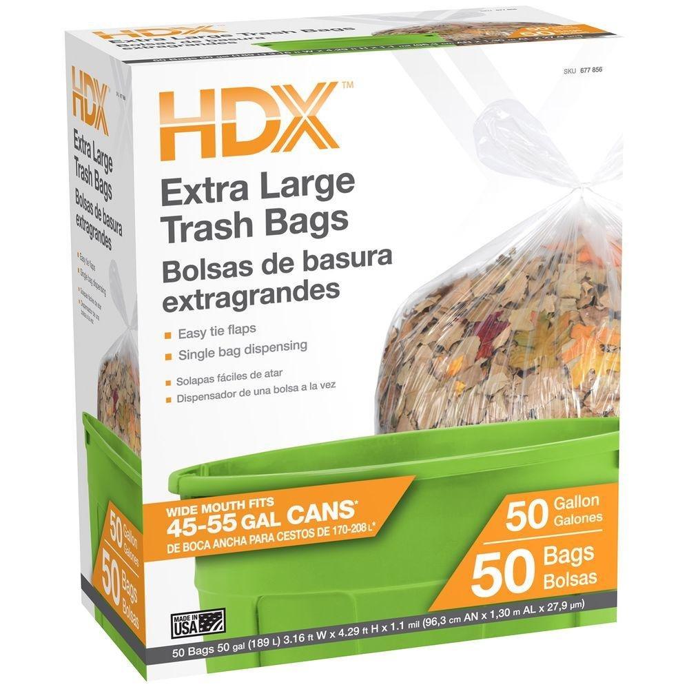 HDX 50 gal. Clear Wave Cut Trash Bags (50-Count)