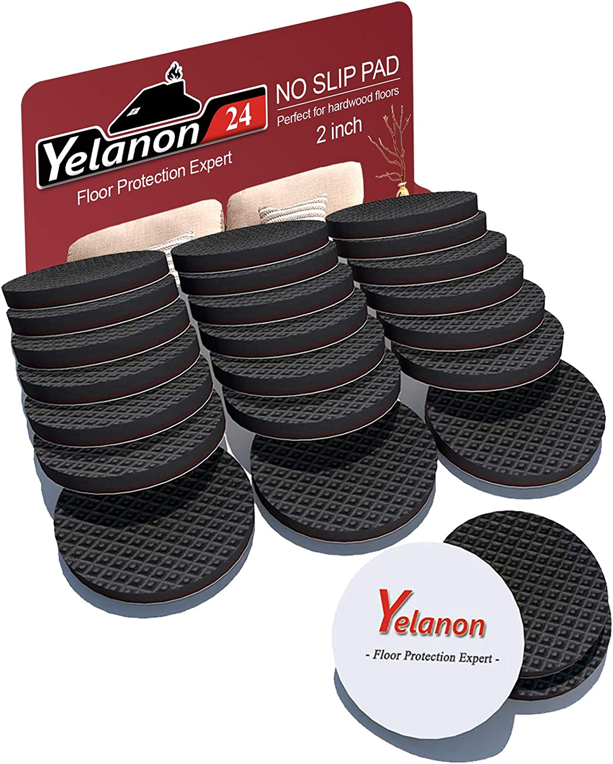 Yelanon Non Slip Furniture Pads 24 pcs Anti Skid Furniture Pads Stopper Self Adhesive Rubber Feet Wood Floor Protector for Furniture Grippers on Hardwood Floor - Protectors for Chair Legs