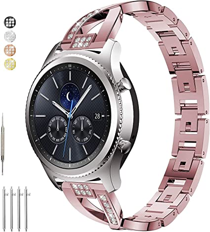 Taolla for Gear S3 Frontier/Classic Watch Bands, Galaxy Watch 46mm Band, Metal Replacement Bracelet Wristband Sport Strap Compatible Samsung Gear S3 ...