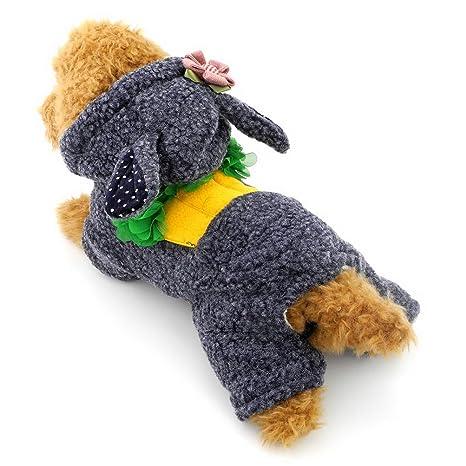 ZUNEA Zanahoria Body Traje Pequeño para Perros Gato pijama con capucha invierno cálido Pet disfraz conejo