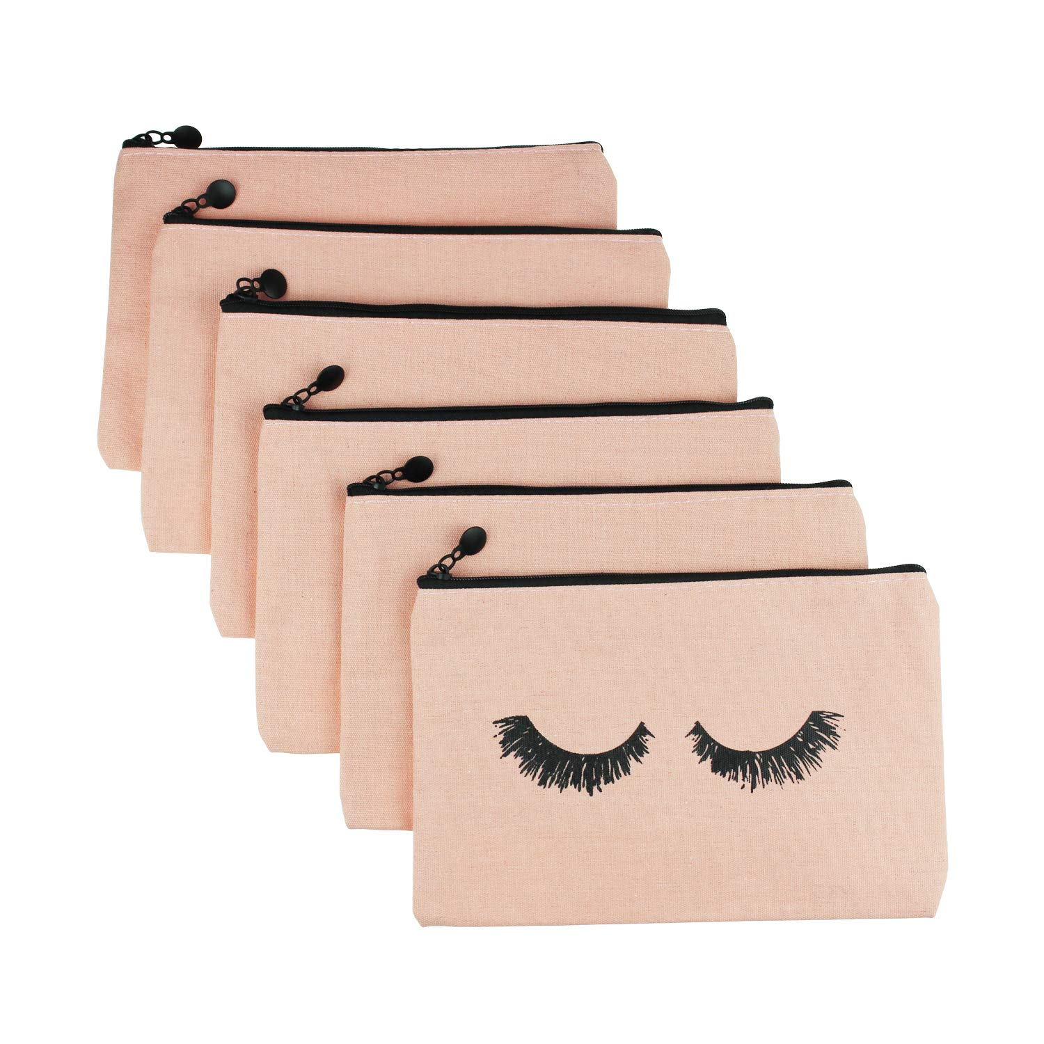 Goodma 6 Pieces Makeup Cosmetic Bags Eyelash Pattern Travel Pouches Toiletry Cases with Zippered Pocket for Women and Girls Pink