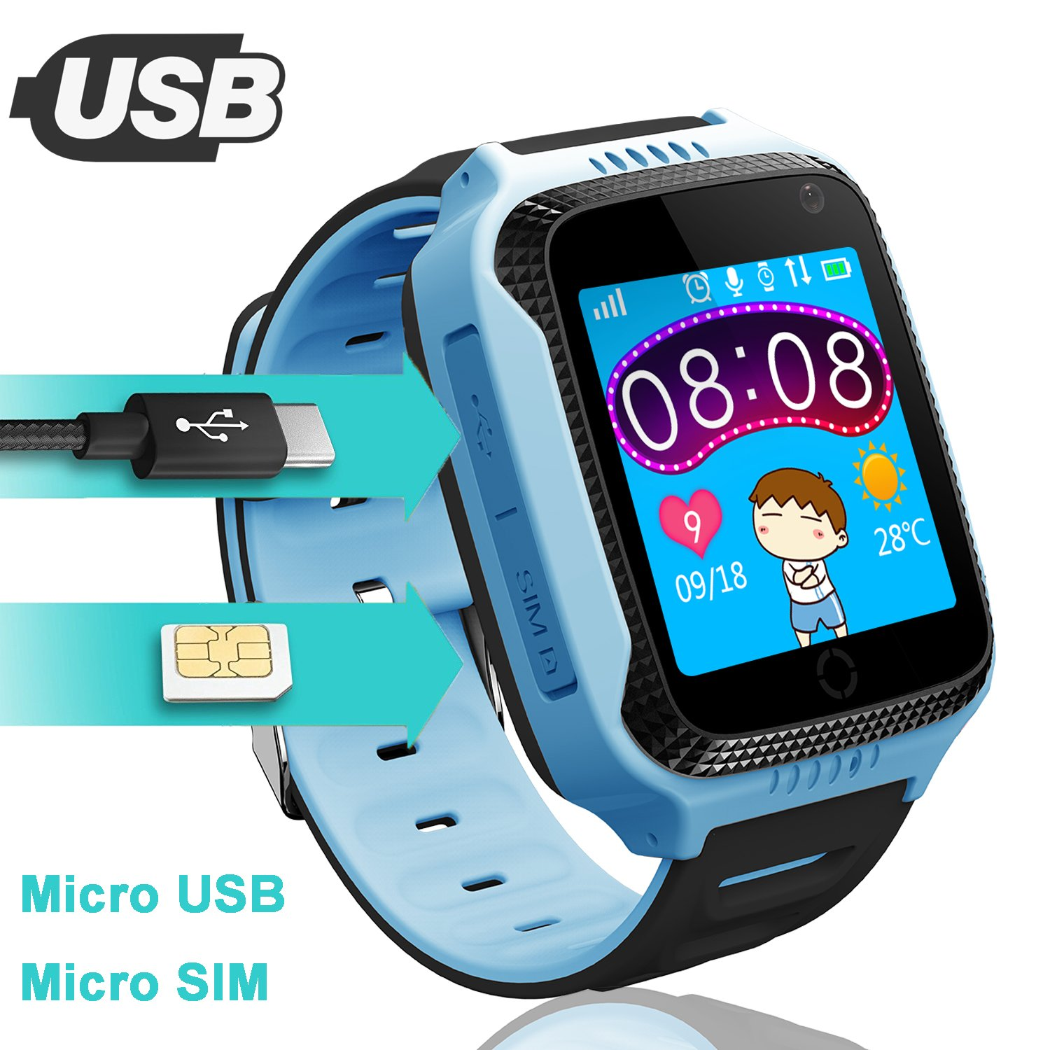 Kids GPS Smartwatch for Boys Girls - Student Fitness Tracker Watch GPS Tracker Wristband Phone with Game SOS Voice Chat Alarm Clock Camera Flashlight ...