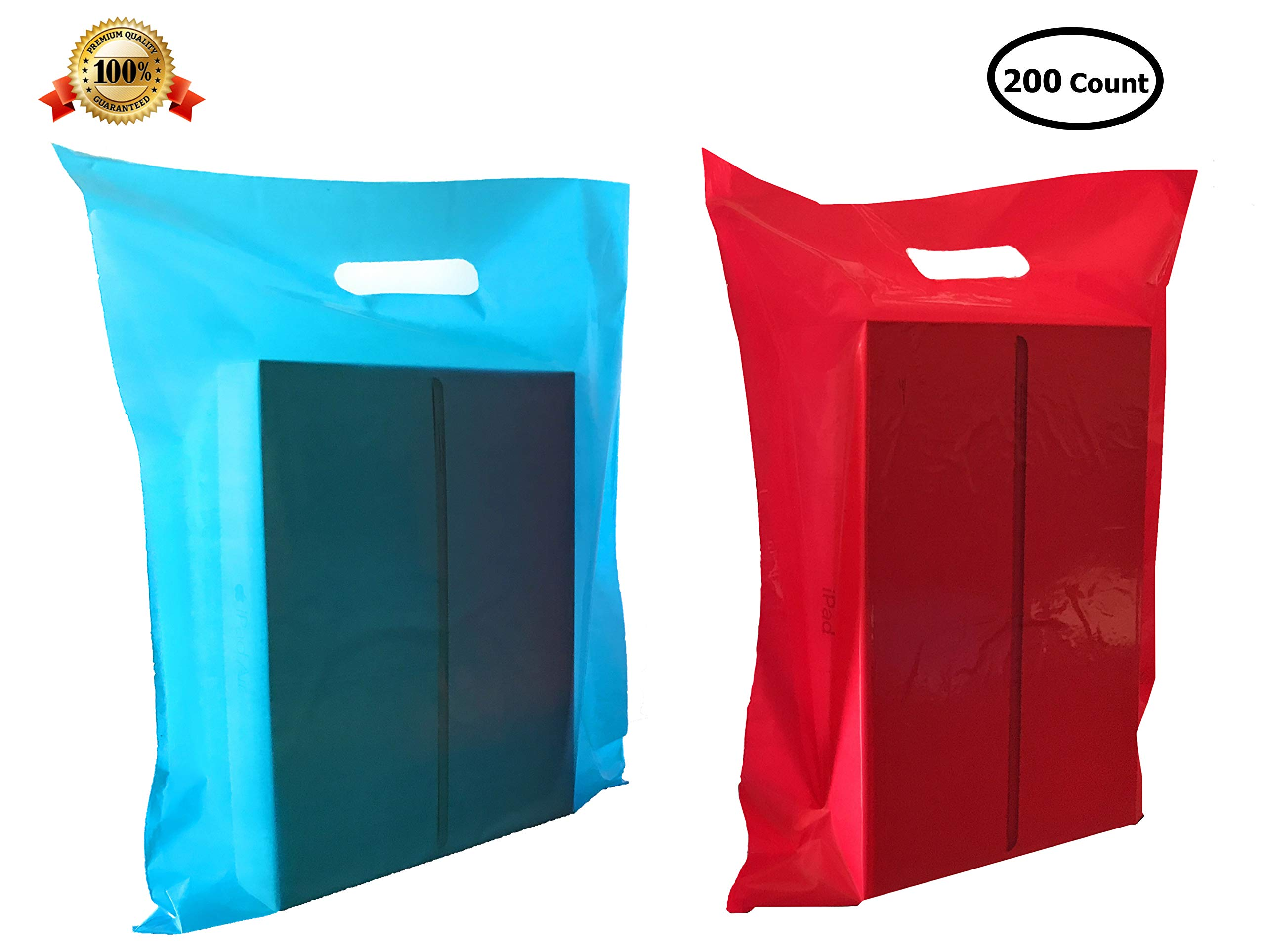 200 12'' X 15'' Medium Pink and Blue Merchandise Bags, Comfortable Die Cut Handles, Premium, Extra Thick. Strong, Durable, Tear-Resistant Glossy Bags, Perfect for Retail, Boutiques, or Any Other Events