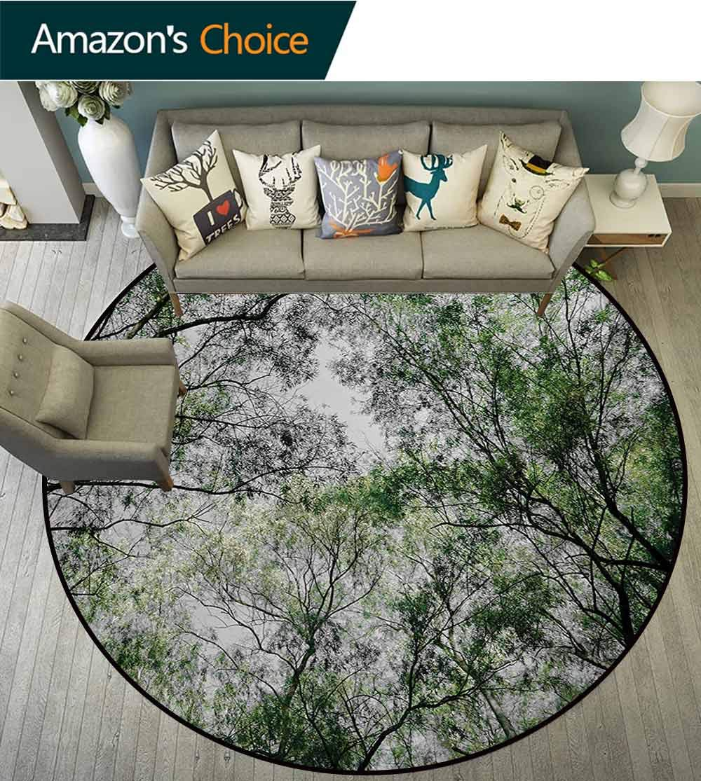RUGSMAT Nature Non Slip Round Rugs,Tree Branch in Spring Season Fairy Jungle Growth Nature Look Up Wood Scene Photo Print Oriental Floor and Carpets,Diameter-71 Inch Green by RUGSMAT (Image #1)