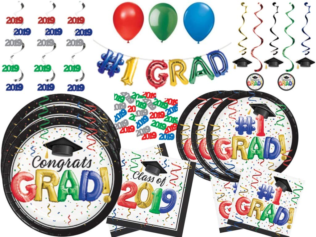 2019 Graduation Party Supplies Pack - Multicolored Disposable Tableware and Decorations for 48 Guests