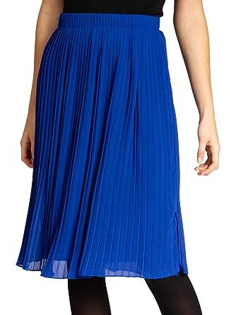 Caspar RO027 Falda Plisada por la Rodilla para Mujer, Color:Azul ...