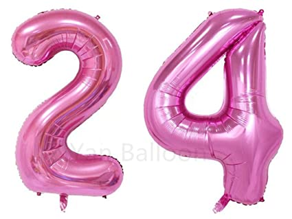 ZiYan 40 Inch Giant 24th Pink Number BalloonsBirthday Party Balloons