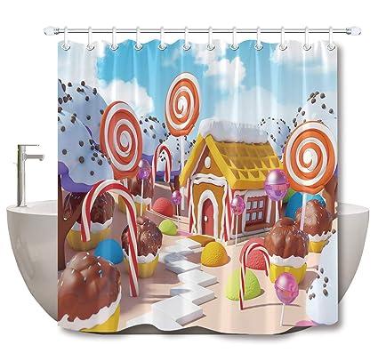 LB Candy Shower Curtain Colorful Ice Cream Chocolate Fantasy Fairy Tale World Kids Bathroom Decor