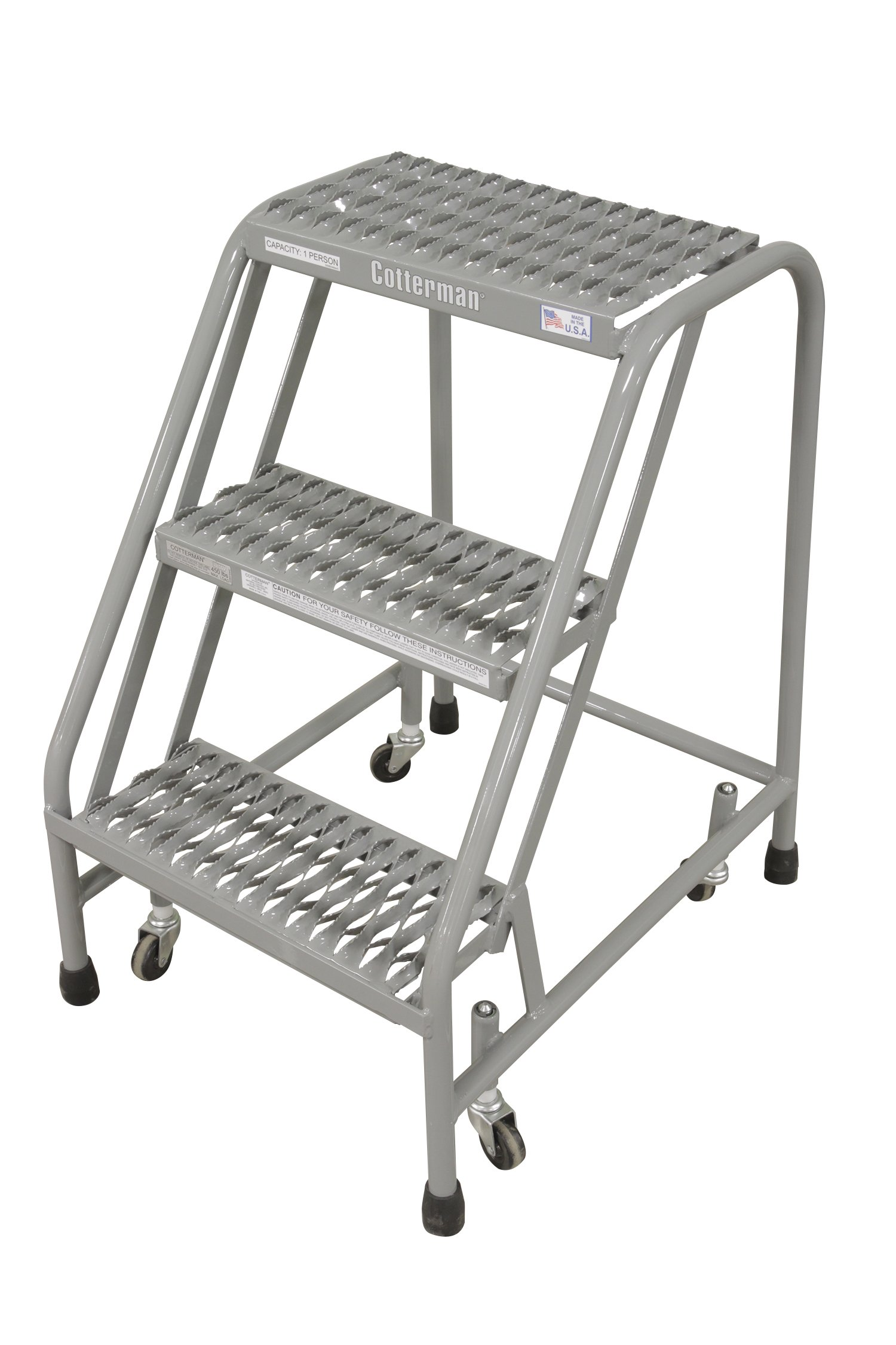 Cotterman 1003N1820A3E10B3C1P1 All Welded Ready to Use Rolling Steel Safety Ladder, 3-Step, 30'' Top Step Height, Serrated Tread, 450 lb Capacity