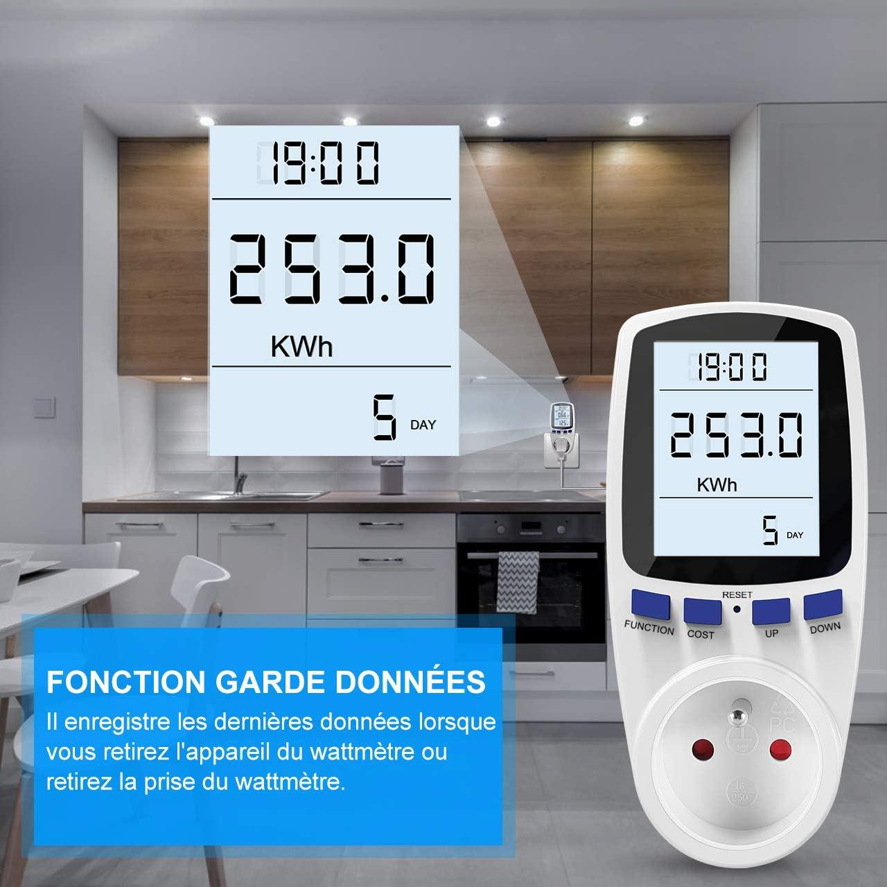 Tarif Unique Gifort Wattm/ètre Prise Prise de Moniteur dutilisation de l/électricit/é avec /écran LCD Compteur d/énergie AC 185V ~ 264V Compteur de consommation d/énergie