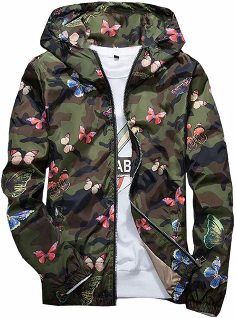 xtsrkbg Mens Hipster Hoodie Lightweight Camo Print Zip Long Sleeve Jackets