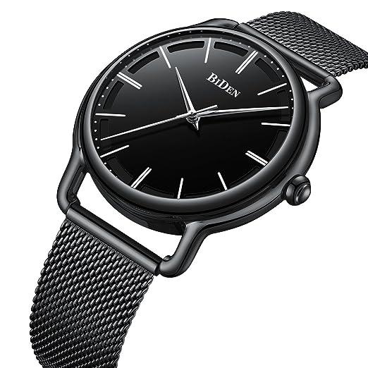 Relojes Hombres Clásico Lujo Minimalista Negro Malla Acero Inoxidable Impermeable Cuarzo Hombre Vestido Reloj: Amazon.es: Relojes