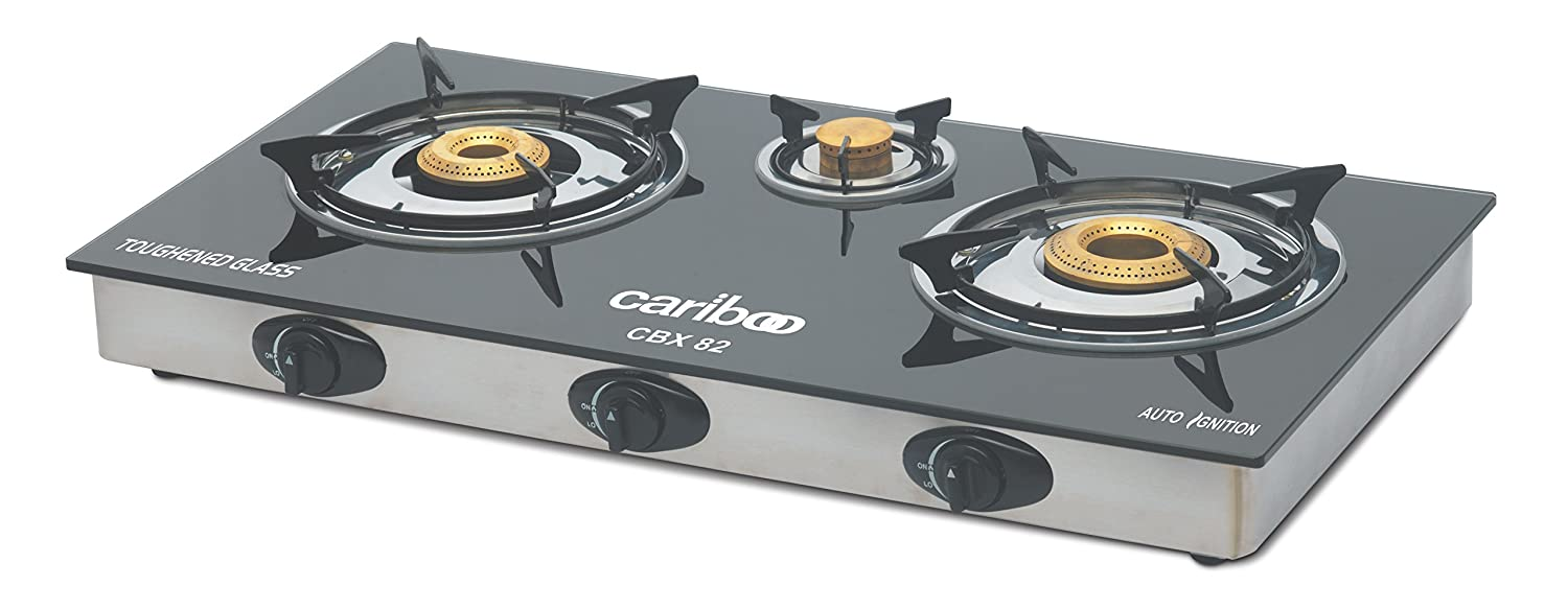 Gas Cooktop Glass Buy Cariboo Glass Top Auto Ignition Gas Stove 3 Burner Black