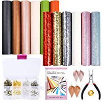 Caydo 12 Pieces Leather Earring Making Kit Include 4 Style Faux Leather Sheet, an Instructions and Tools for DIY Jewelry Earrings Craft Making Supplies