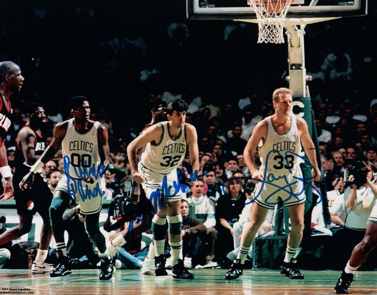 Larry Bird & Robert Parrish & Kevin McHale reprint 8 x 10 Photo Boston Celtics