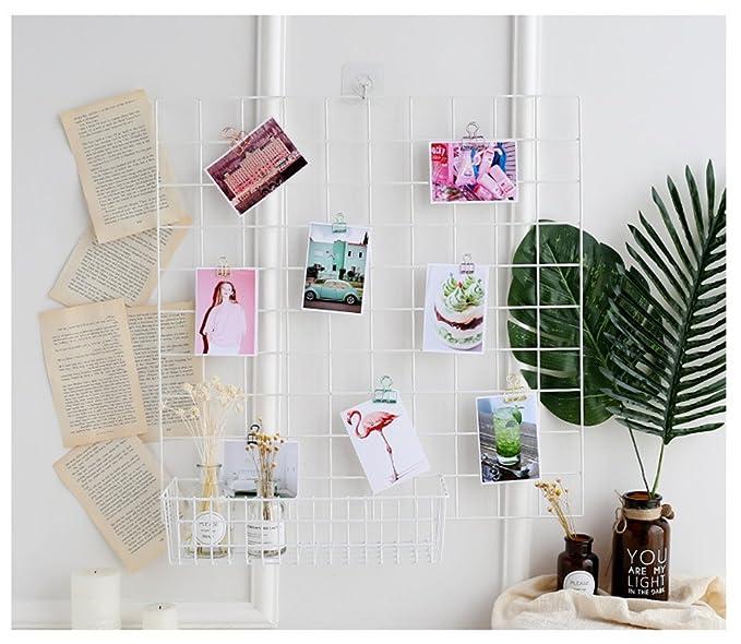TKBYD Grid Photo Wall DIY Estanter/ía de Hierro N/órdico Multifuncional//Marco de Fotos//Bloc de Notas Decoraci/ón de Pared Creativa Blanco 60X60cm