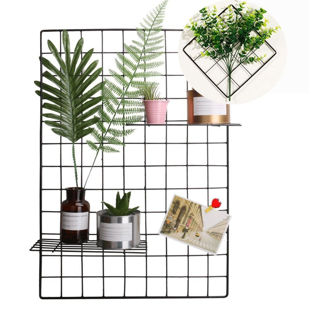 Wire Grid Panel, Multifunction Photo Wall Decor Dispaly Vinyl Dipped Organizer for Home Decor Dorm Decoration 25.6'' x 17.7'' Pack of 2 Black (Black) by HomRing