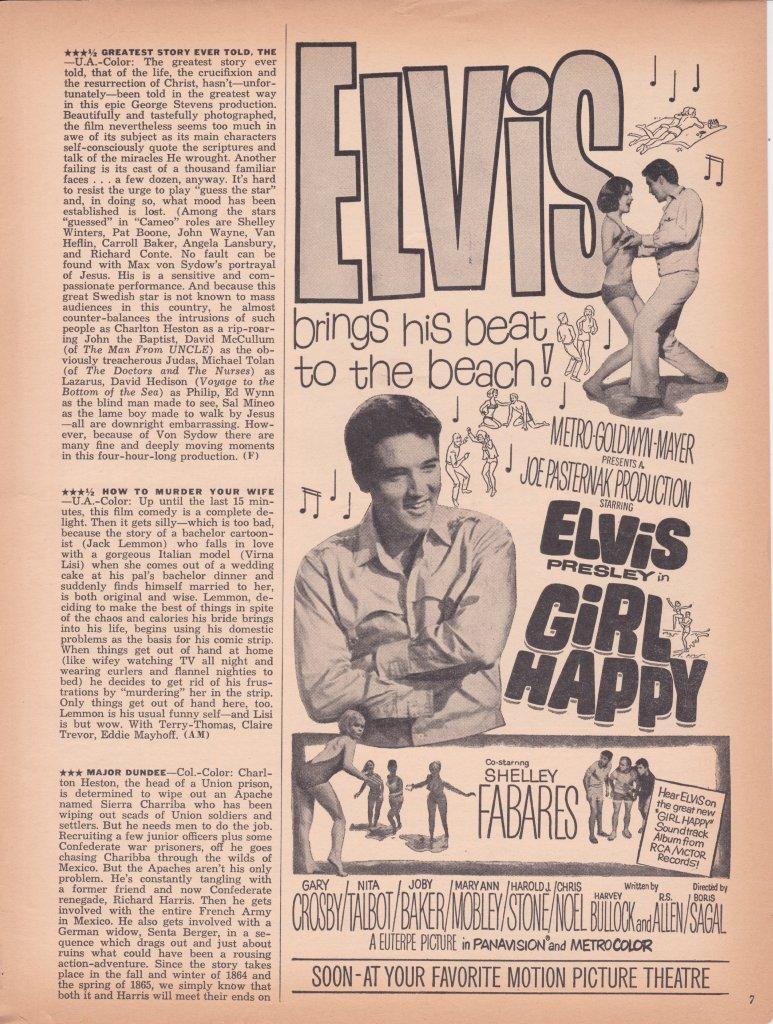 PRINT IMAGE PHOTO GIRL HAPPY MOVIE POSTER Elvis Presley RARE NEW VINTAGE PW0