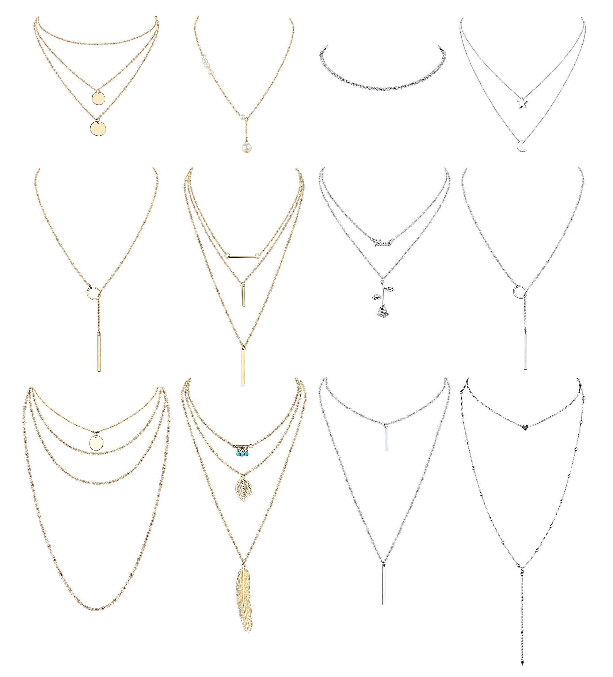 Finrezio 12 PCS Layered Necklace for Women Girls Multilayer Sexy Long Choker Chain Y Necklace Gold & Silver Tone Bar Feather Pendent Necklace Sets by Finrezio