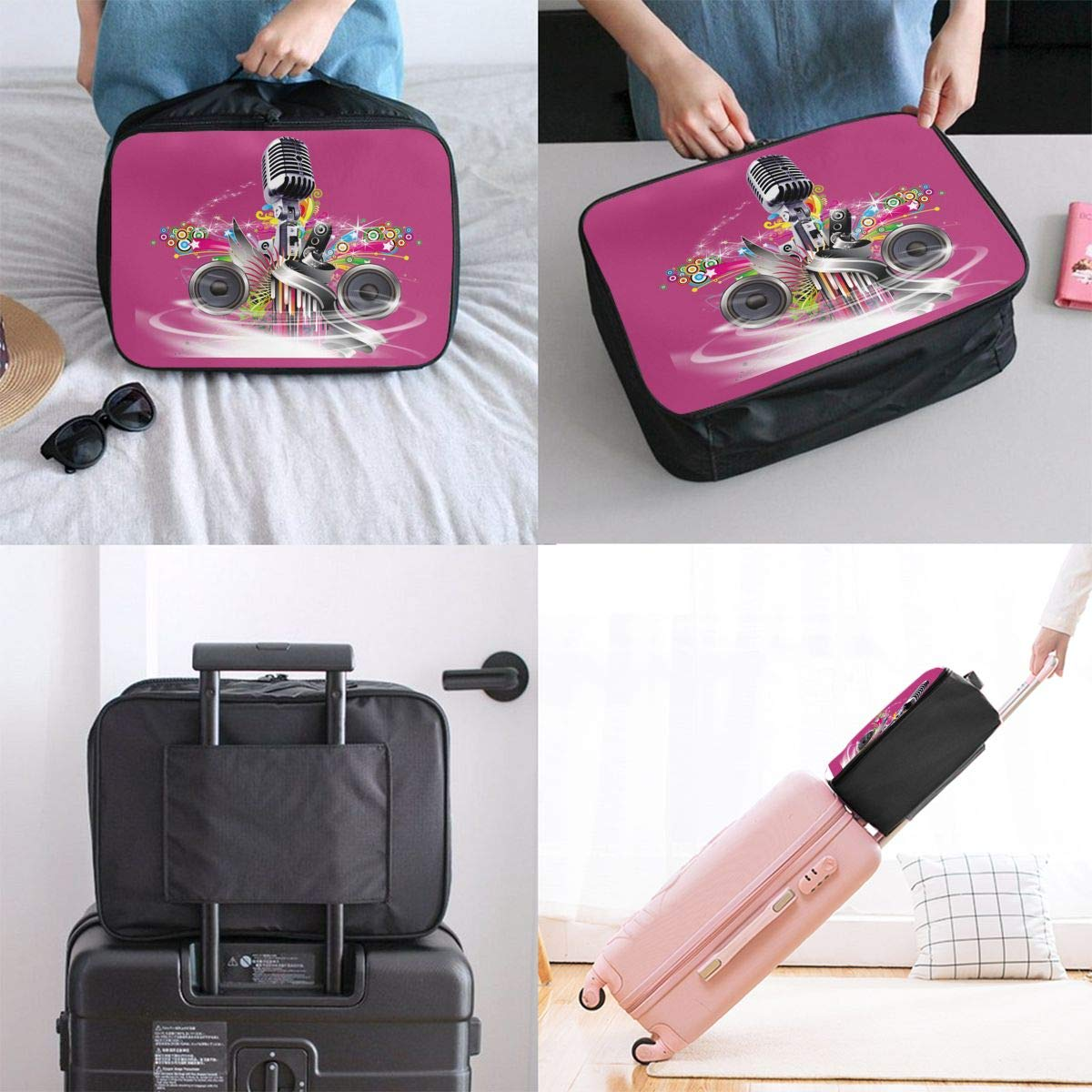 Travel Luggage Duffle Bag Lightweight Portable Handbag Microphone Large Capacity Waterproof Foldable Storage Tote
