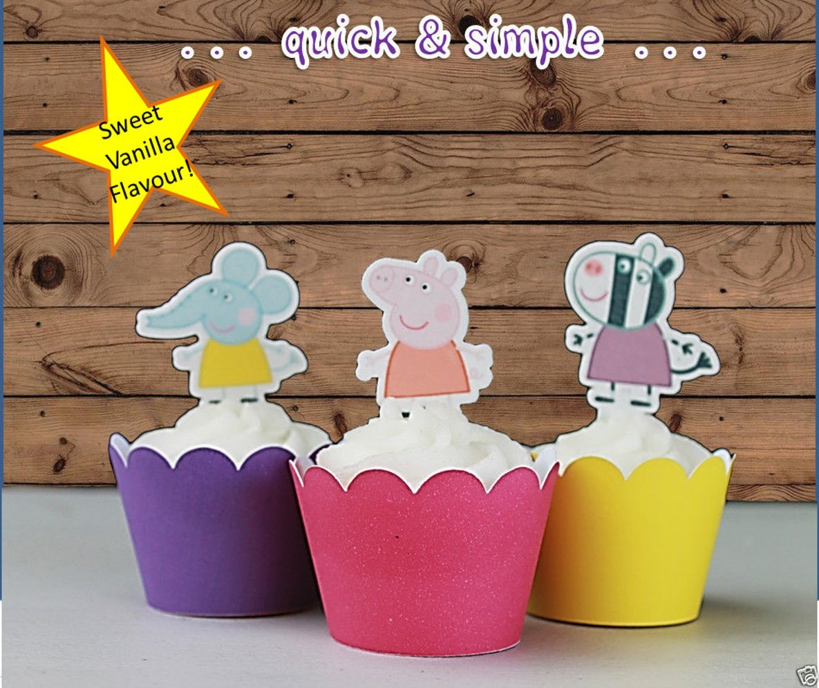 Amazon.com: 12 x EDIBLE Peppa Pig Cupcake Cake Toppers: Kitchen & Dining