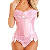 Martya Basque Satin Lace up Back Bustier Corset Top Size S-6XL