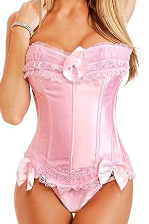 49749bf70a Martya Basque Satin Lace up Back Bustier Corset Top Size S-6XL   Amazon.co.uk  Clothing