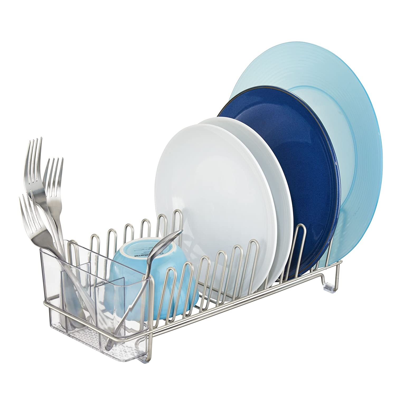 InterDesign Classico Compact Kitchen Dish Drainer Rack for Drying Glasses, Silverware, Bowls, Plates - Satin/Clear 60115