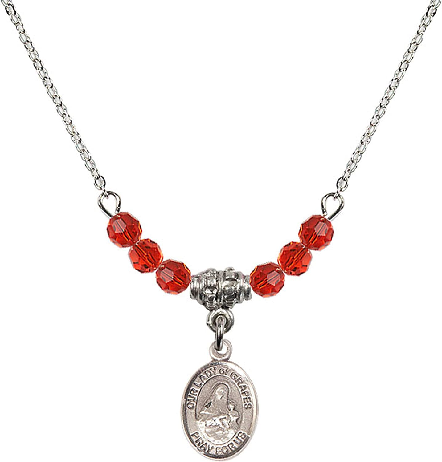 Bonyak Jewelry 18 Inch Rhodium Plated Necklace w// 4mm Red July Birth Month Stone Beads and Our Lady of Grapes Charm