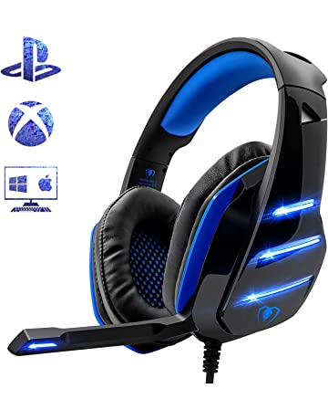 Beexcellent - Auriculares para PS4, Surround Bass Sound Professional con micrófono y luz LED para