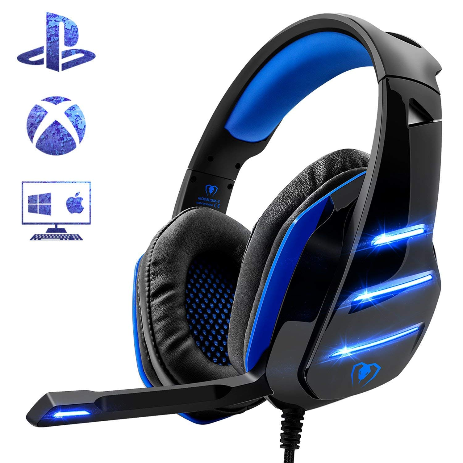 Beexcellent Gaming Headset fü r PS4, Surround Bass Sound Professional Kopfhö rer mit Mikrofon LED Licht fü r Xbox One PC Laptop Mac Tablet