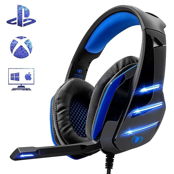 Beexcellent Gaming Headset für PS4, Surround Bass Sound Professional Kopfhörer mit Mikrofon LED Licht für Xbox One PC Laptop